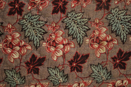 Valance Antique French floral fabric purple & madder dyed 1800