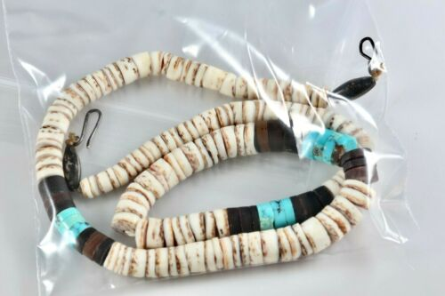 """Vintage Hand Strung Silver Turquoise Puka Shell Hawaii 18"""" Necklace 1950"""
