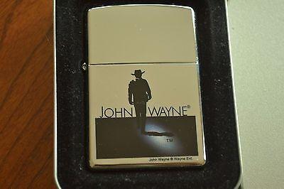 ZIPPO Lighter, 21120 John Wayne Silhouette, Hi-Polish Chrome, 2005, Sealed M1143