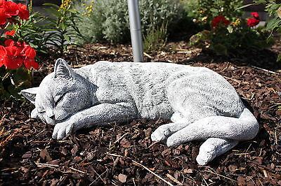 Steinfigur Katze schlafend Gross Frostfest Gartenfigur Deko Steinguss