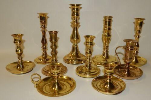 Stunning Estate Lot of 10 Assorted Brass Candlestick Holders