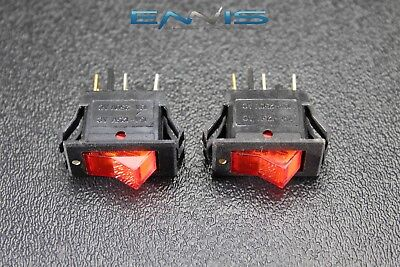 2 Pcs Rocker Switch On On Mini Toggle Red Led 3p Spst 125v 15 Amp Ec-315