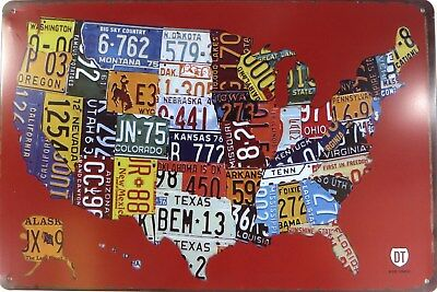 Restaurant Decor - US SELLER, American map license plate metal tin sign office restaurant decor
