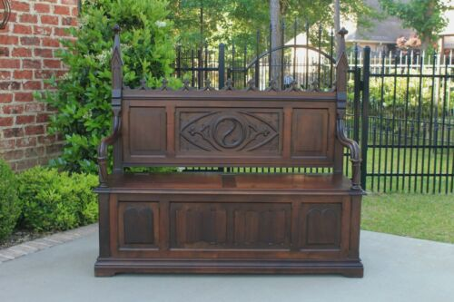 Antique French Entry Hall Bench Settee Gothic Revival Carved Walnut 19th C