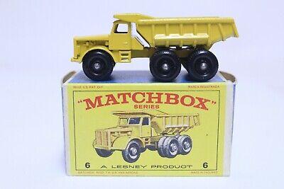 VINTAGE MATCHBOX NO. 6 EUCLID QUARRY DUMP TRUCK W/ BOX