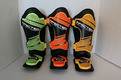 Boxing MMA Shin Instep Guards, Synthetic Leather, Green/Orange/Yellow Sizes - Mma Synthetic Leather