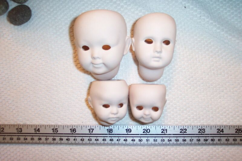 Porcelain Doll Bisque ware Cut for Glass Eyes Heads only
