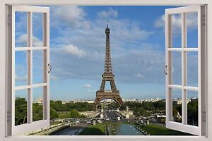 3d window huge wall sticker mural wallpaper decor paris. Black Bedroom Furniture Sets. Home Design Ideas