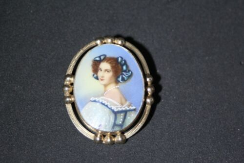 Victorian Antique Gold Filled Hand Painted Ladies Portrait Brooch Pin
