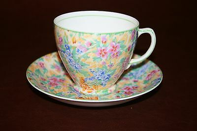 Vintage English Sampson & Smith Old Royal Fine China Floral Chintz Cup & Saucer