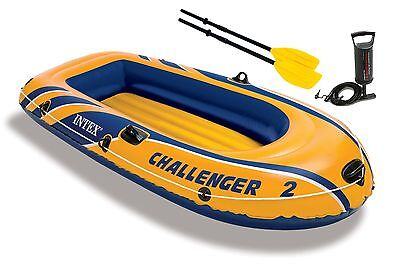 Intex Challenger 2 Inflatable 2 Person Floating Boat Raft Set W  Oars   Air Pump