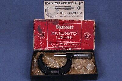 Vintage Starrett Micrometer No. 436 1-2 Inch Usn W Box.