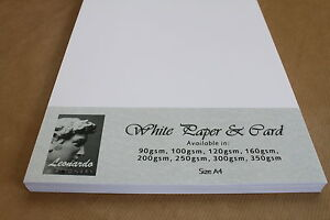 A4 SMOOTH WHITE PREMIUM QUALITY CARD & PAPER. 160gsm 200gsm 250gsm 300gsm 350gsm