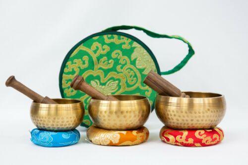 "Tibetan 3 Set 3""-3.5""- 4"" Chakra Healing Handcrafted Singing bowls for sound hea"