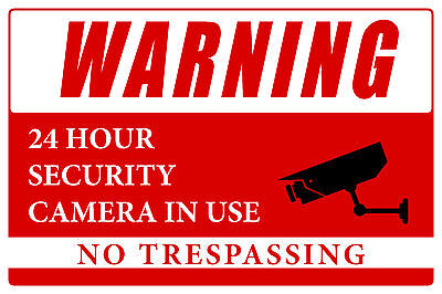 Warning 24 Hour Security Cameras In Use 12x8 Business Warning Security Sign