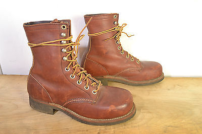 Vintage Red Wing Brown Leather Hiking/Work Boots Womens 7 Steel Toe Made in USA