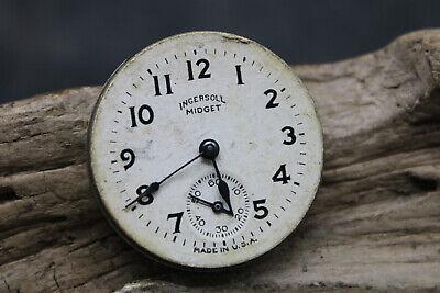 Vintage Ingersoll Midget Pocket Watch Movement Repair or Parts 68783253 (R3S4)