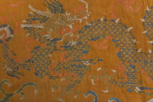 EARLY ANTIQUE QING CHINESE EXCEPTIONAL BROWN GOLD DRAGON BROCADE SILK PANEL KESI