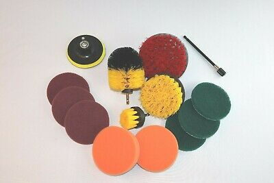 3 Piece Drill Brush Set Yellow + 11 Piece Drill Brush Attachments + Carrier Bag Bag Attachment Set