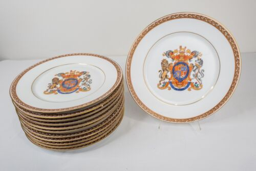 "Porcelaine De Paris Armorial Dinner Plates Set of 12 -10 1/2"" Free USA Shipping!"