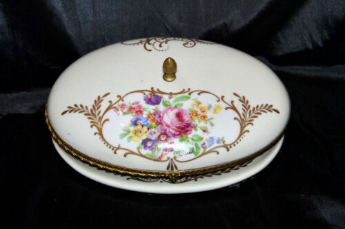 Vintage Large Hand Painted France Porcelain Vanity Trinket Jewelry Box Signed