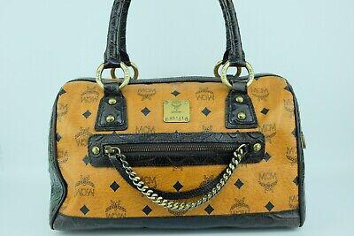 100% Authentic MCM Cognac Visetos *German Made* Boston Hand Bag With Dust Bag