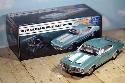 Acme GuyCast 1970 Oldsmobile Cutlass 442 W-30 Reef Turquoise 1:18 A1805610