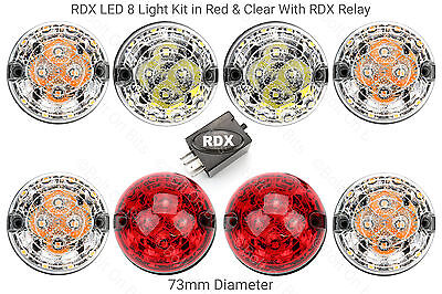 8 RDX Td5 Tdci Puma LED STANDARD SIZE Light/lamps Kit Defender Red & Clear