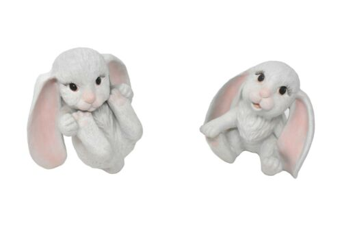 DUO CERAMIC PLAYFUL BUNNY RABBIT FIGURINES - WHITE