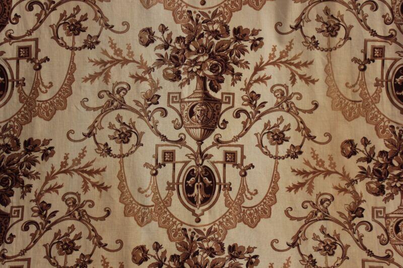 Fabric Antique Neoclassical design French toile curtain textile circa 1860