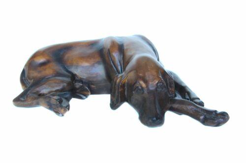 Handcrafted High Grade Teak Wood Sleeping Hound Dog Statue - 12 in.