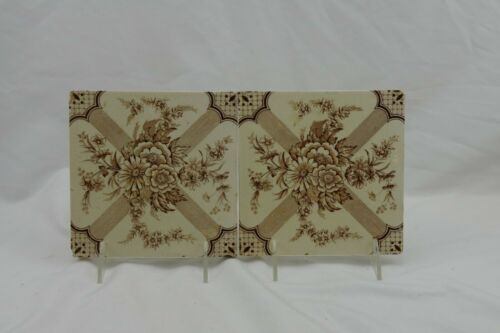 ANTIQUE TRANSFERWARE BROWN ENGLISH TILES FLORAL SALVEDGE X2