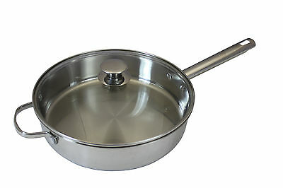 "CONCORD 11"" 18/10 Triply Stainless Steel Frying Pan Chicken Fryer Cookware Saute"