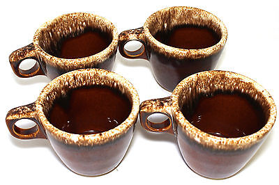 Set 4 Vintage Hull Pottery Brown Drip Glaze Coffee Mugs Cups Oven Proof USA