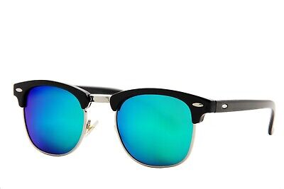 BUY 1 GET 1 FREE  Classic Semi-Rimless Half Frame Mirrored Lens (Buy Clubmaster Sunglasses)