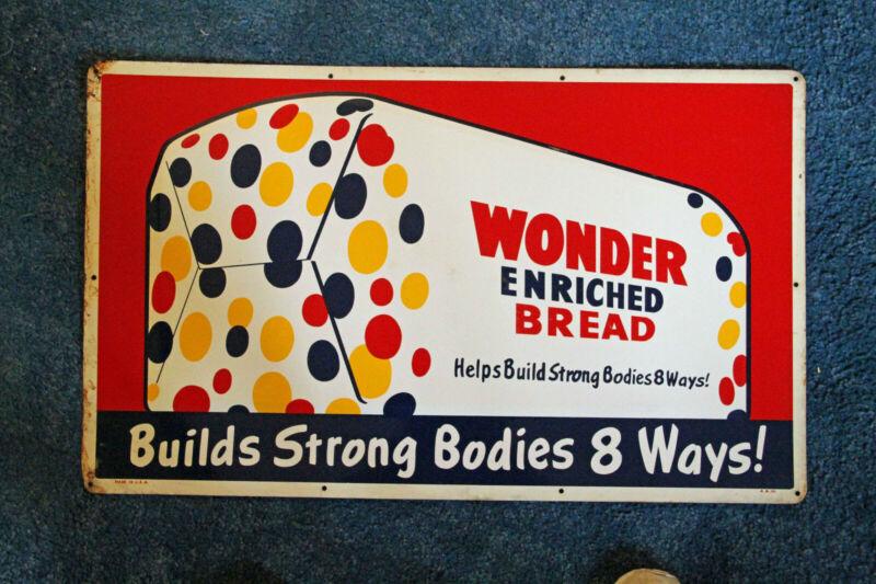 Metal Wonder Bread Sign, vintage, original circa 1950's (18x30 in)