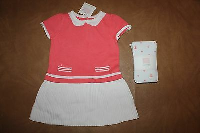 New Janie & Jack Nautical Charm 12-18 Month Set Peach Sweater Dress Heart Tights