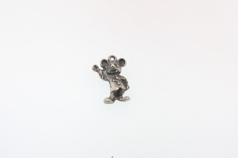 VINTAGE WALT DISNEY ~ ©WDP WAVING MICKEY MOUSE ~ OLD STERLING SILVER CHARM