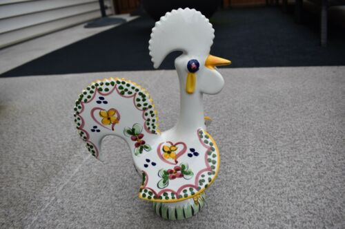 PORTUGAL CERAMIC GOOD LUCK ROOSTER FIGURINE, MARKED PORTUGAL 27, PRE-OWNED