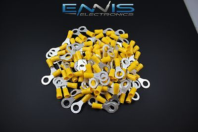 10-12 GAUGE VINYL RING 5/16 YELLOW 25 PK CRIMP TERMINAL CONNECTOR AWG WIRE AUTO