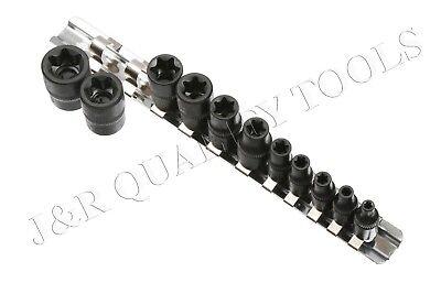 (11 pc Torx Star Bit Female  External E Socket Set Automotive Tools  E4-E20)