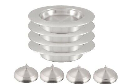 Communion Ware 4 Stacking Bread Plate with 4 Lids/Cover (S S Matt Finish)