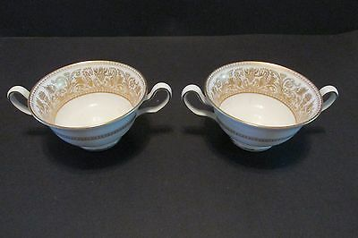 (2 Wedgwood FLORENTINE Gold CREAM SOUP CUPS  W4219 Dragons Urns  Exc!)