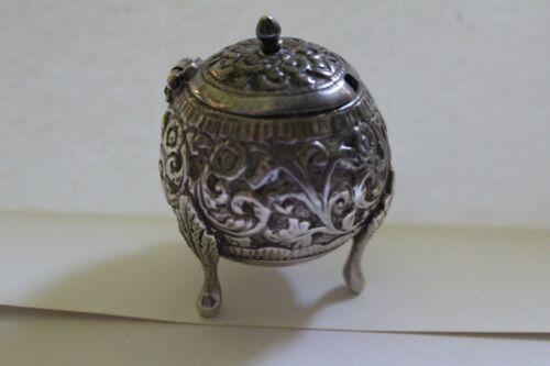 Sterling Silver Antique Repousse Mustard Pot