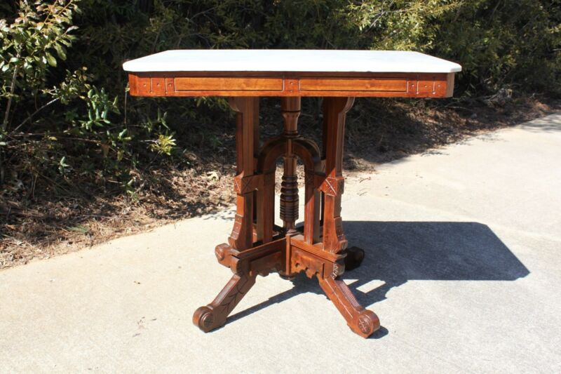 Large Ornate Walnut Victorian Eastlake Marble Top Center Table ~Ca.1880
