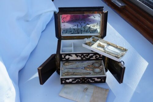 Antique French Gilded Silver Sewing Set