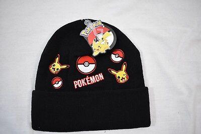 Pokémon Pikachu Single Cuff Beanie Hat BIOWORLD Black One Size NEW - Pokemon Hat