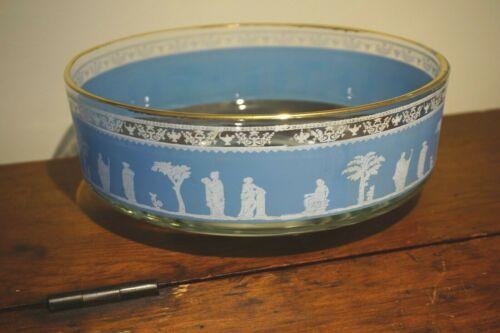 Vintage Jeanette Glass Blue Hellenic Jasperware Serving Bowl
