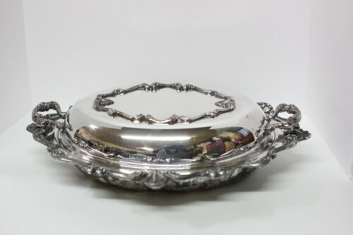 Vintage 1850-1899 W&S Blackinton Silver Plated Tarnished Ornate Platter Cloche
