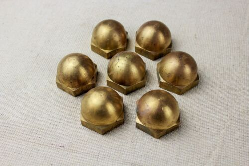 """Lot of 7 Solid Brass Dome Top Low Crown Acorn Nuts 1""""-8 Thread Pitch"""